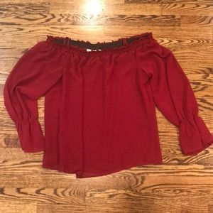 Wayf Off the shoulder maroon silk top size large